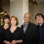 Senta Berger mit dem Ensemble Cosi fan Tango Maria Reiter (Akkordeon), Norbert Nagel (Saxophone, Klarinetten) und Rudi Spring (Klavir, Arrangements)